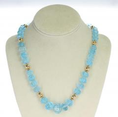 CARVED BLUE TOPAZ NECKLACE WITH GOLD BEADS - 2021777