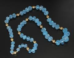 CARVED BLUE TOPAZ NECKLACE WITH GOLD BEADS - 2021778