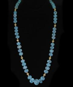 CARVED BLUE TOPAZ NECKLACE WITH GOLD BEADS - 2021779