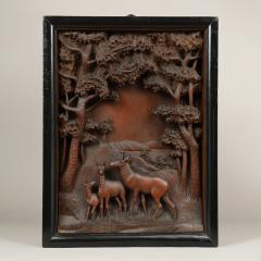 CARVED DIORAMA OF DEER - 1392619
