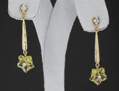 CARVED FLORAL LEMON TOPAZ DROP EARRINGS WITH DIAMONDS 14 KARAT GOLD - 2086606