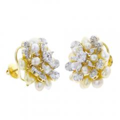 CLUSTER PEARL AND DIAMOND EARRINGS 18K YELLOW GOLD - 1923176