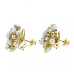 CLUSTER PEARL AND DIAMOND EARRINGS 18K YELLOW GOLD - 1923178