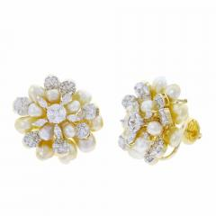 CLUSTER PEARL AND DIAMOND EARRINGS 18K YELLOW GOLD - 1923179