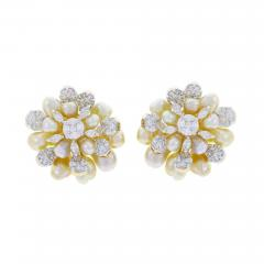 CLUSTER PEARL AND DIAMOND EARRINGS 18K YELLOW GOLD - 1923663