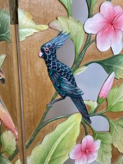 COLORFUL TROPICAL BIRDS AMONGST EXOTIC FOILAGE PAINTED CARVED WOOD ROOM SCREEN - 1221396