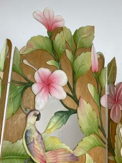 COLORFUL TROPICAL BIRDS AMONGST EXOTIC FOILAGE PAINTED CARVED WOOD ROOM SCREEN - 1228219
