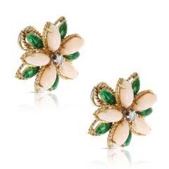 CORAL GREEN ENAMEL AND DIAMOND FLORAL EARRINGS 18 KARAT YELLOW GOLD - 1964970