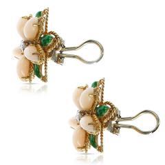 CORAL GREEN ENAMEL AND DIAMOND FLORAL EARRINGS 18 KARAT YELLOW GOLD - 1964971