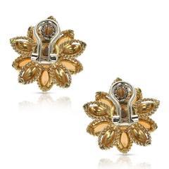 CORAL GREEN ENAMEL AND DIAMOND FLORAL EARRINGS 18 KARAT YELLOW GOLD - 1964972