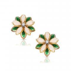 CORAL GREEN ENAMEL AND DIAMOND FLORAL EARRINGS 18 KARAT YELLOW GOLD - 1965677