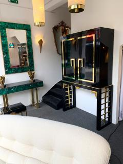 Cabinet Bar Lacquered with Brass and Mirror Italy 1970s - 1450895
