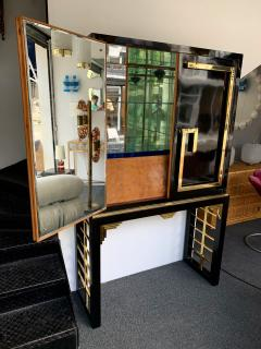Cabinet Bar Lacquered with Brass and Mirror Italy 1970s - 1450898