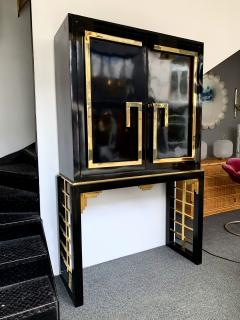 Cabinet Bar Lacquered with Brass and Mirror Italy 1970s - 1450899