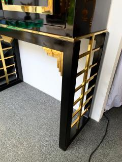 Cabinet Bar Lacquered with Brass and Mirror Italy 1970s - 1450904