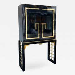 Cabinet Bar Lacquered with Brass and Mirror Italy 1970s - 1451824