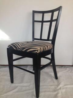 Cafe Carlyle Set Of Six Black Lacquer Dining Chairs   88395