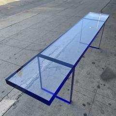Cain Modern Custom Bench in Deep Blue and Clear Lucite by Cain Modern - 1276420