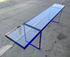 Cain Modern Custom Bench in Deep Blue and Clear Lucite by Cain Modern - 1276427