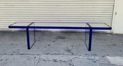 Cain Modern Custom Bench in Deep Blue and Clear Lucite by Cain Modern - 1276430
