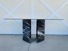 Calacatta Black Marble Pedestal Table with a Glass Top - 1833848