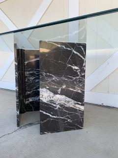 Calacatta Black Marble Pedestal Table with a Glass Top - 1833859