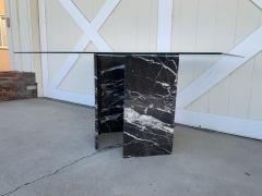 Calacatta Black Marble Pedestal Table with a Glass Top - 1833865