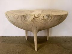 Caleb Woodard Bleached Ash Contemporary Hand Carved Side Table - 1638438