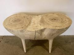 Caleb Woodard Bleached Ash Contemporary Hand Carved Side Table - 1638440