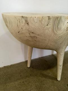 Caleb Woodard Bleached Ash Contemporary Hand Carved Side Table - 1638442