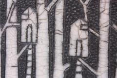 Camille Champignion Contemporary Black and White Ceramic Bowl Arbres Habit s - 1681617