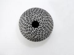Camille Champignion Contemporary Black and White Ceramic Globe Vase Boule Plumes II - 1642987