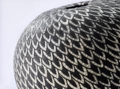 Camille Champignion Contemporary Black and White Ceramic Globe Vase Boule Plumes II - 1642988