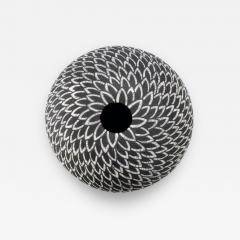 Camille Champignion Contemporary Black and White Ceramic Globe Vase Boule Plumes II - 1645449