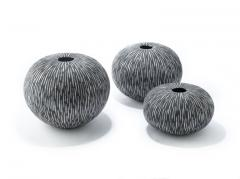 Camille Champignion Contemporary Black and White Ceramic Globe Vase Boule Strate Large - 1656856