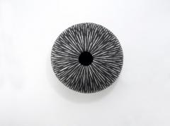 Camille Champignion Contemporary Black and White Ceramic Globe Vase Boule Strate Large - 1656857
