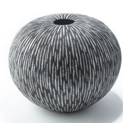 Camille Champignion Contemporary Black and White Ceramic Globe Vase Boule Strate Large - 1665173