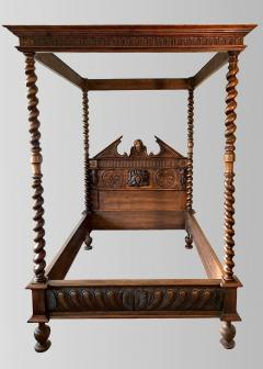 Canopy bed In carved and turned walnut France end of XIXth Century - 1226741