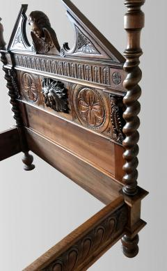 Canopy bed In carved and turned walnut France end of XIXth Century - 1226743