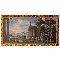 Capriccio of Mediterranean Port and Classical Architectural Ruins Oil on Canvas - 632624