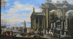 Capriccio of Mediterranean Port and Classical Architectural Ruins Oil on Canvas - 632626
