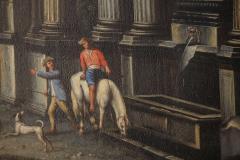 Capriccio of Mediterranean Port and Classical Architectural Ruins Oil on Canvas - 632628