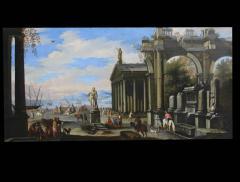 Capriccio of Mediterranean Port and Classical Architectural Ruins Oil on Canvas - 632629