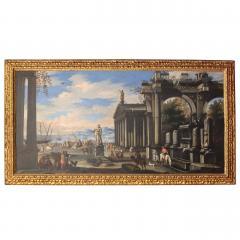 Capriccio of Mediterranean Port and Classical Architectural Ruins Oil on Canvas - 632630