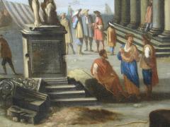 Capriccio of Mediterranean Port and Classical Architectural Ruins Oil on Canvas - 632631