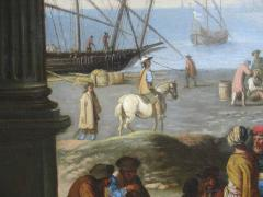Capriccio of Mediterranean Port and Classical Architectural Ruins Oil on Canvas - 632632