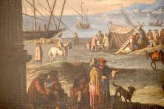 Capriccio of Mediterranean Port and Classical Architectural Ruins Oil on Canvas - 632633