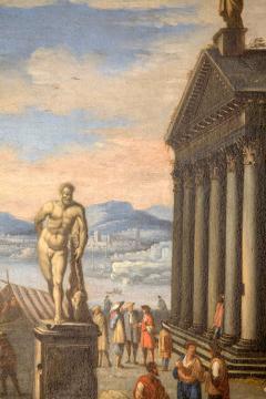Capriccio of Mediterranean Port and Classical Architectural Ruins Oil on Canvas - 632634