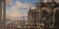 Capriccio of Mediterranean Port and Classical Architectural Ruins Oil on Canvas - 632992
