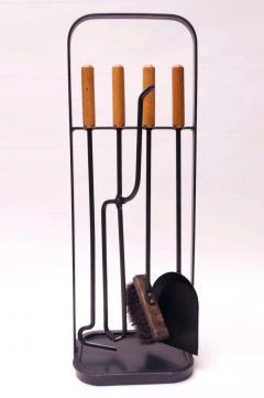 Carl Aub ck Austrian Modernist Fire Tool Set in Maple and Iron - 1701328